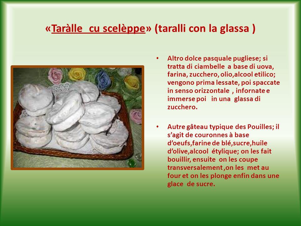 «Scarcèdde» ( scarcelle ) E il dolce tipico pasquale della Puglia; si tratta di pasta frolla che può assumere svariate forme: colomba,cuore,canestro,