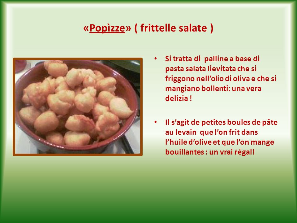 « Sgagliòzze» ( polenta fritta ) È una vera istituzione gastronomica della città vecchia di Bari ! Si tratta di polenta tagliata a fette e fritta nell