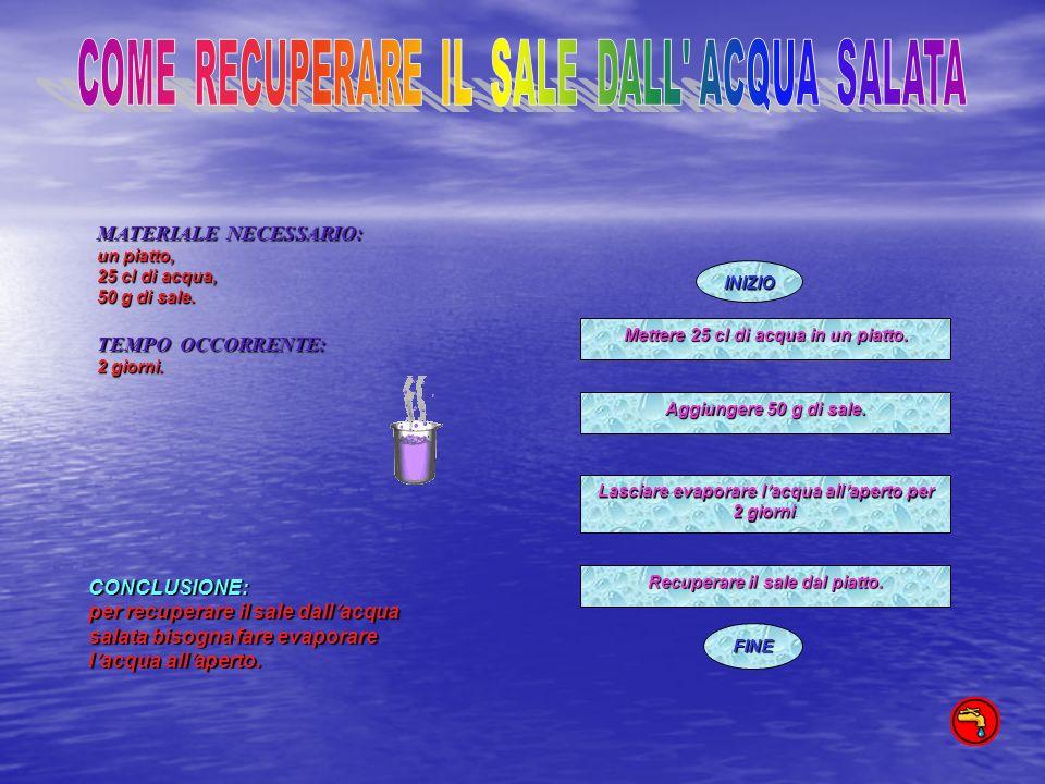 INIZIO FINE MATERIALE NECESSARIO: un piatto, 25 cl di acqua, 50 g di sale. TEMPO OCCORRENTE: 2 giorni. CONCLUSIONE: per recuperare il sale dallacqua s