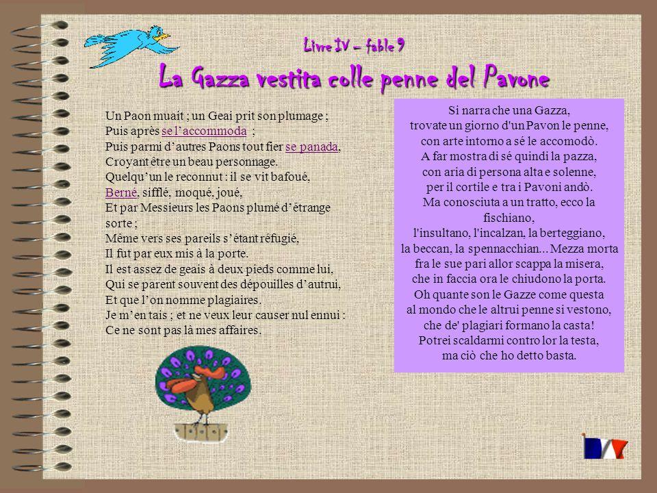 Livre IV – fable 9 La Gazza vestita colle penne del Pavone Un Paon muait ; un Geai prit son plumage ; Puis après se laccommoda ; Puis parmi dautres Paons tout fier se panada, Croyant être un beau personnage.