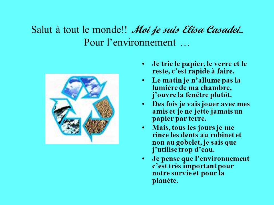 Ciao! Mi chiamo Cristina Per rispettare lambiente riciclo i rifiuti. Metto i rifiuti nei bidoni corrispondenti. I bidoni marroni per lorganico, quelli