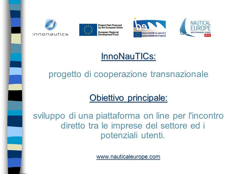 InnoNauTICs: progetto di cooperazione transnazionale Obiettivo principale: sviluppo di una piattaforma on line per l'incontro diretto tra le imprese d