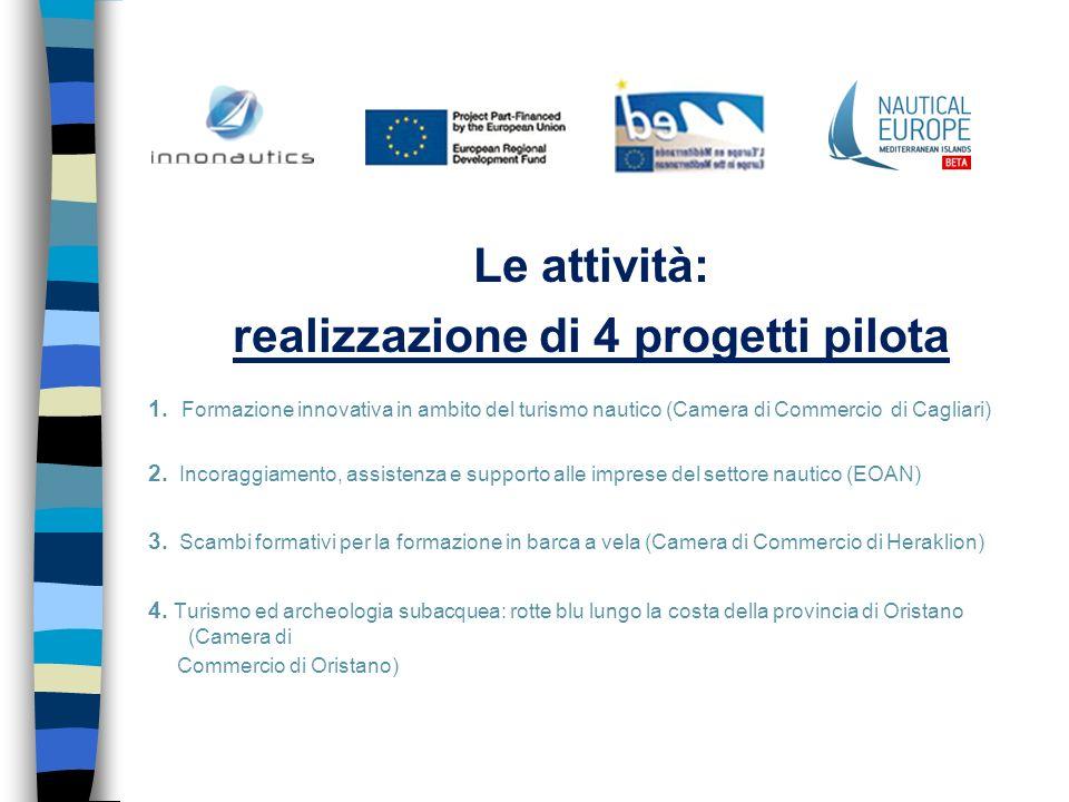 Le attività: realizzazione di 4 progetti pilota 1. Formazione innovativa in ambito del turismo nautico (Camera di Commercio di Cagliari) 2. Incoraggia