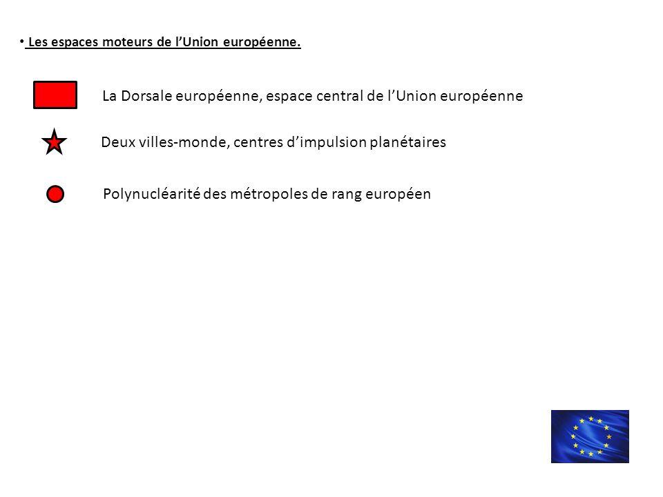 Les espaces moteurs de l'Union européenne.