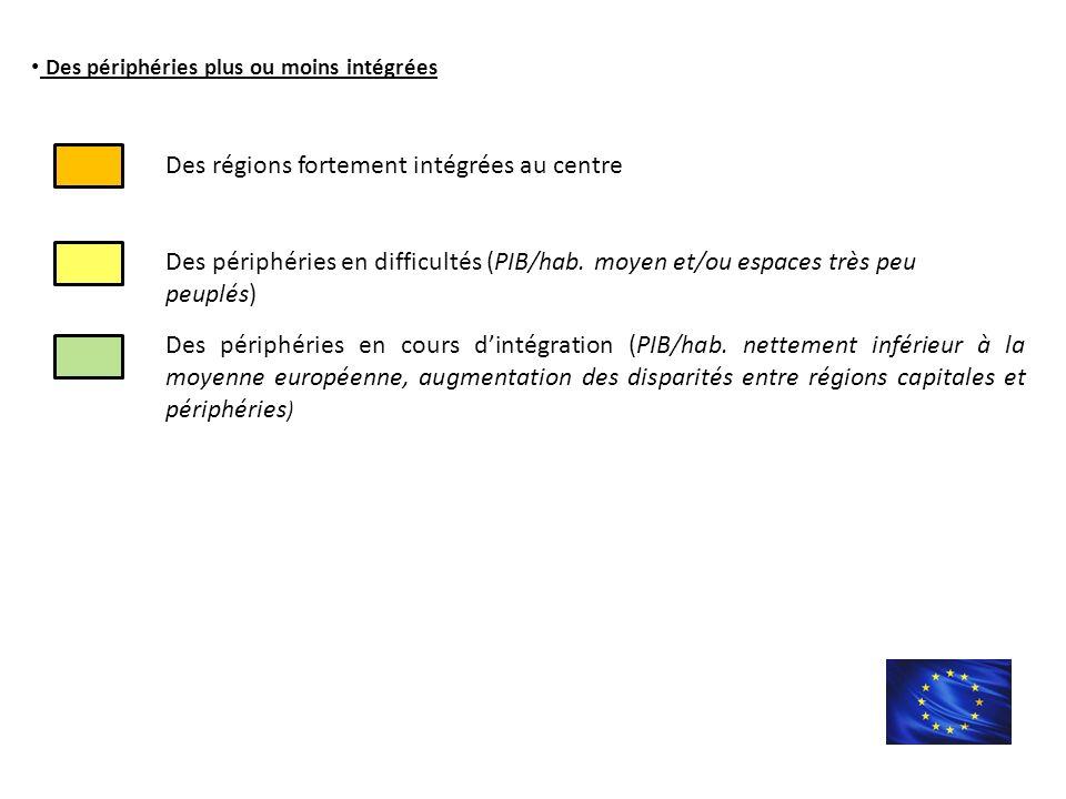 Des périphéries plus ou moins intégrées Des périphéries en cours d'intégration (PIB/hab.