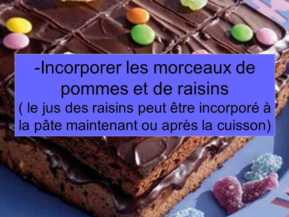 -I-Incorporer les morceaux de pommes et de raisins ( le jus des raisins peut être incorporé à la pâte maintenant ou après la cuisson)