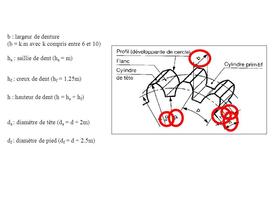 b : largeur de denture (b = k.m avec k compris entre 6 et 10) h a : saillie de dent (h a = m) h f : creux de dent (h f = 1.25m) h : hauteur de dent (h