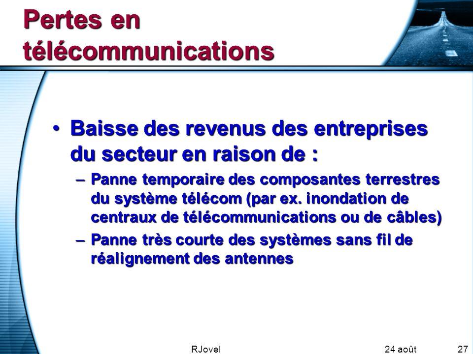 24 août 2007 RJovel27 Pertes en télécommunications Baisse des revenus des entreprises du secteur en raison de :Baisse des revenus des entreprises du secteur en raison de : –Panne temporaire des composantes terrestres du système télécom (par ex.