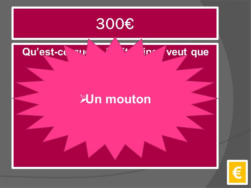 300€ Qu'est-ce que le Petit Prince veut que l'auteur dessine? €  Un mouton