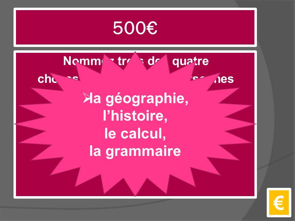 500€ Nommez trois des quatre choses que les grande personnes suggèrent à l'auteur qu'il étudie.