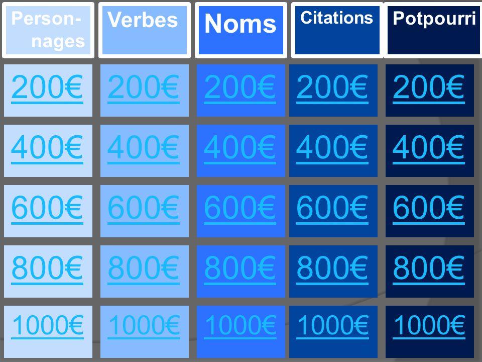 400€ 200€ 800€ 600€ 1000€ 200€ 400€ 600€ 800€ 1000€ 200€ 400€ 600€ 800€ 1000€ Person- nages Verbes Noms 1000€ 800€ 1000€ 600€ 400€ 200€ Citations Potpourri 800€ 600€ 400€ 200€
