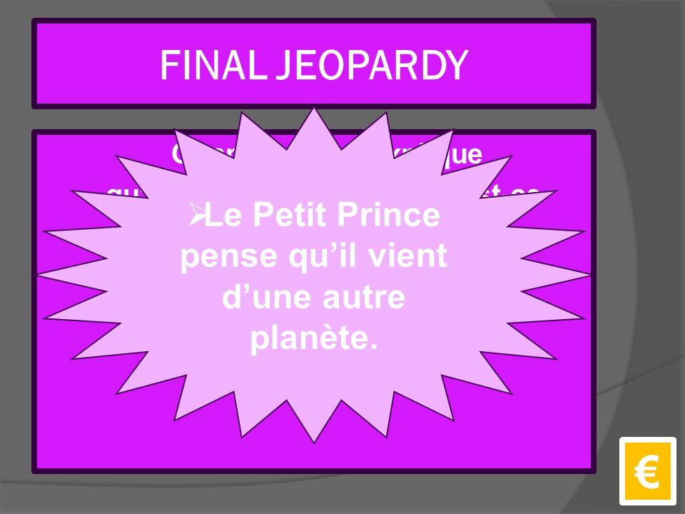 FINAL JEOPARDY Quand le pilot explique qu'il est tomb é du ciel, qu'est-ce que le Petit Prince pense.