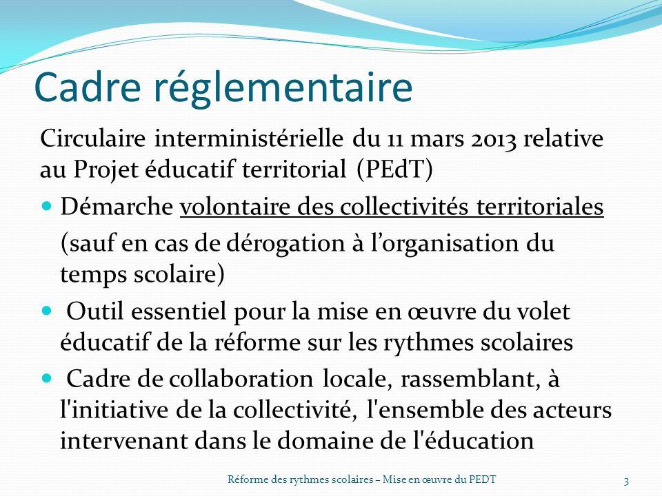 Cadre réglementaire Circulaire interministérielle du 11 mars 2013 relative au Projet éducatif territorial (PEdT) Démarche volontaire des collectivités territoriales (sauf en cas de dérogation à l'organisation du temps scolaire) Outil essentiel pour la mise en œuvre du volet éducatif de la réforme sur les rythmes scolaires Cadre de collaboration locale, rassemblant, à l initiative de la collectivité, l ensemble des acteurs intervenant dans le domaine de l éducation 3Réforme des rythmes scolaires – Mise en œuvre du PEDT