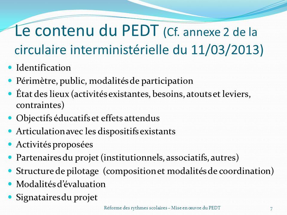 Le contenu du PEDT (Cf.