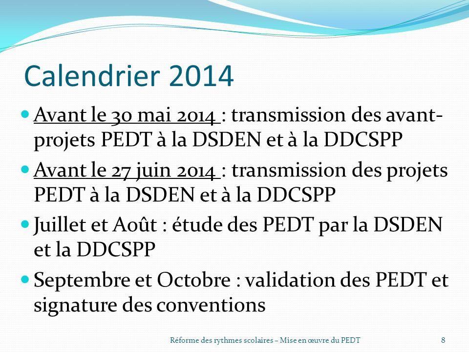 Calendrier 2014 Avant le 30 mai 2014 : transmission des avant- projets PEDT à la DSDEN et à la DDCSPP Avant le 27 juin 2014 : transmission des projets PEDT à la DSDEN et à la DDCSPP Juillet et Août : étude des PEDT par la DSDEN et la DDCSPP Septembre et Octobre : validation des PEDT et signature des conventions Réforme des rythmes scolaires – Mise en œuvre du PEDT8