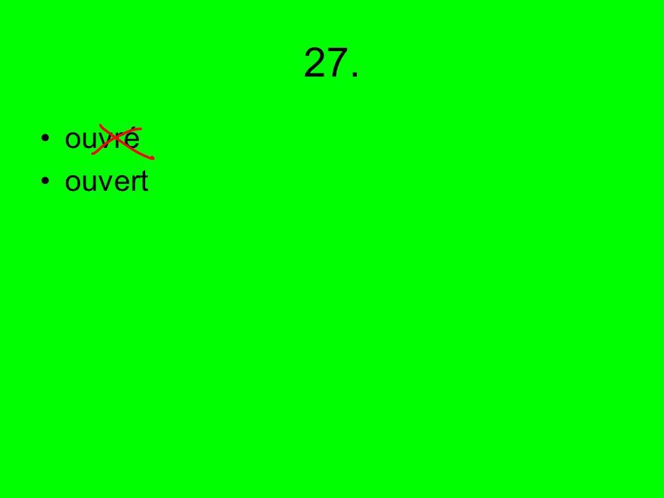 27. ouvré ouvert