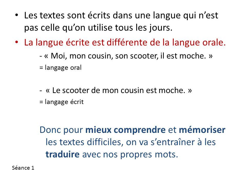 Les textes sont écrits dans une langue qui n'est pas celle qu'on utilise tous les jours.