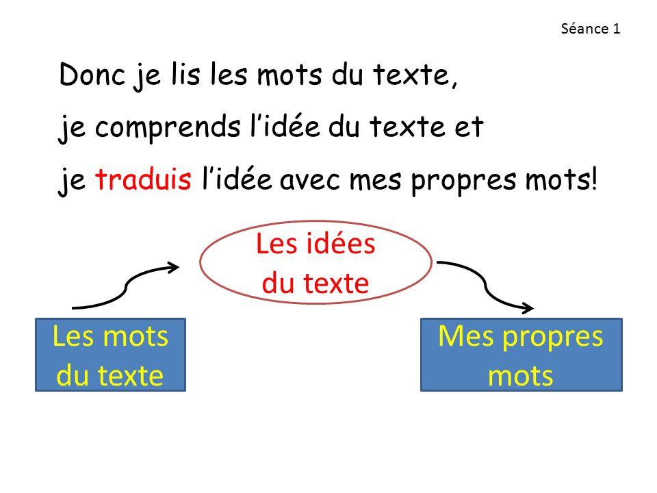 Donc je lis les mots du texte, je comprends l'idée du texte et je traduis l'idée avec mes propres mots.