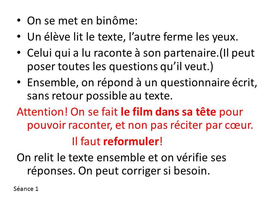 On se met en binôme: Un élève lit le texte, l'autre ferme les yeux.