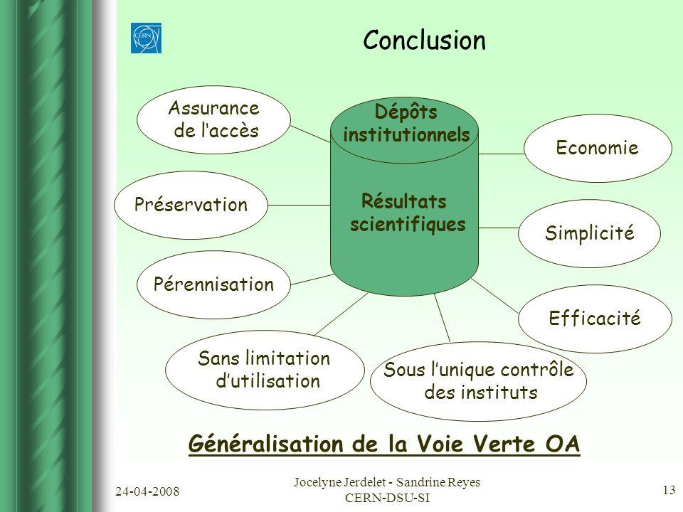 24-04-2008 Jocelyne Jerdelet - Sandrine Reyes CERN-DSU-SI 13 Conclusion Résultats scientifiques Simplicité Efficacité Sous l'unique contrôle des instituts Pérennisation Economie Généralisation de la Voie Verte OA Dépôts institutionnels Préservation Assurance de l'accès Sans limitation d'utilisation