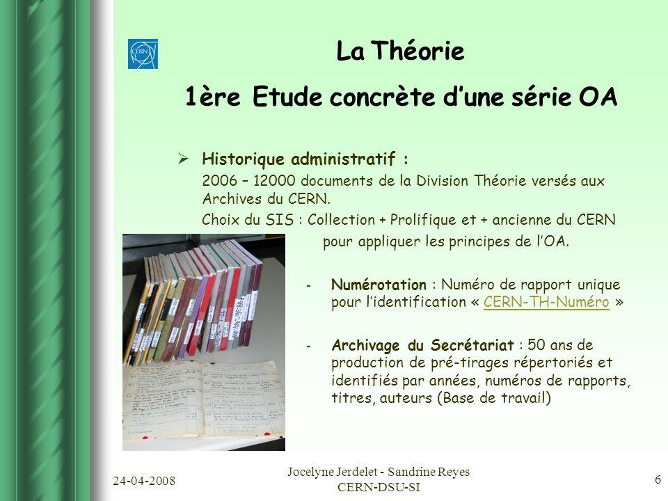 24-04-2008 Jocelyne Jerdelet - Sandrine Reyes CERN-DSU-SI 6 La Théorie 1ère Etude concrète d'une série OA  Historique administratif : 2006 – 12000 documents de la Division Théorie versés aux Archives du CERN.