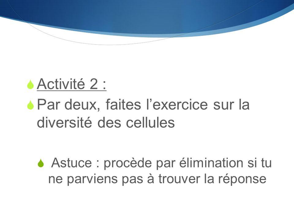  Activité 2 :  Par deux, faites l'exercice sur la diversité des cellules  Astuce : procède par élimination si tu ne parviens pas à trouver la répon