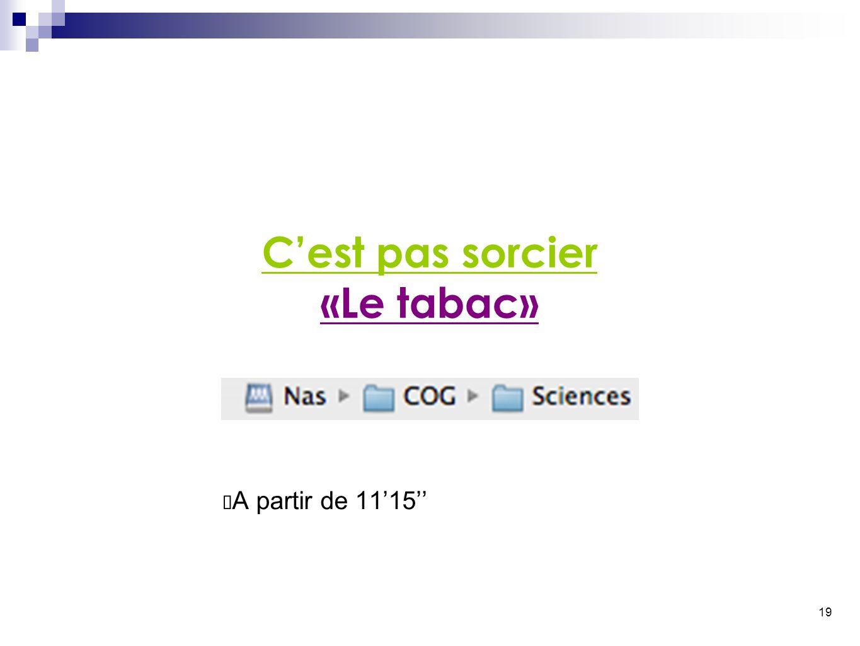 19 C'est pas sorcier «Le tabac» ✴ A partir de 11'15''
