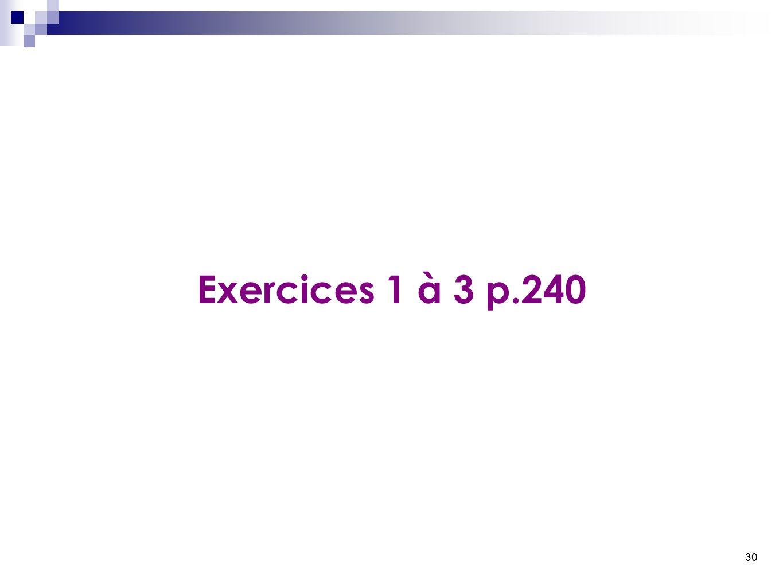 30 Exercices 1 à 3 p.240
