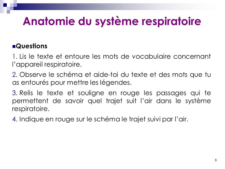 5 Anatomie du système respiratoire Questions 1. Lis le texte et entoure les mots de vocabulaire concernant l'appareil respiratoire. 2. Observe le sché