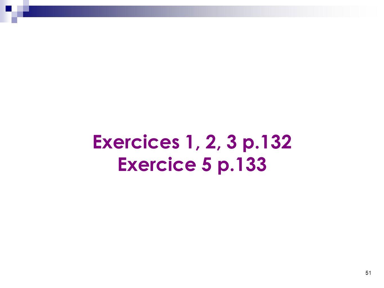 51 Exercices 1, 2, 3 p.132 Exercice 5 p.133