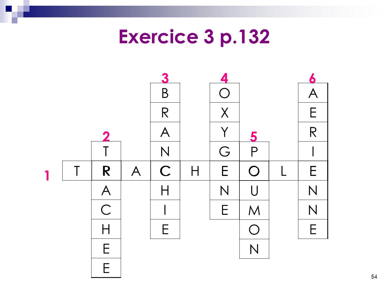 54 Exercice 3 p.132 346 25 1 TRACHEOLE T R A C H E E B R A N C H I E O X Y G E N E P O U M O N A E R I E N N E