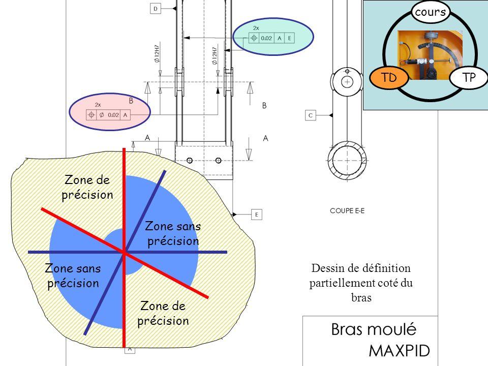 Dessin de définition partiellement coté du bras TDTP cours Zone de précision Zone sans précision