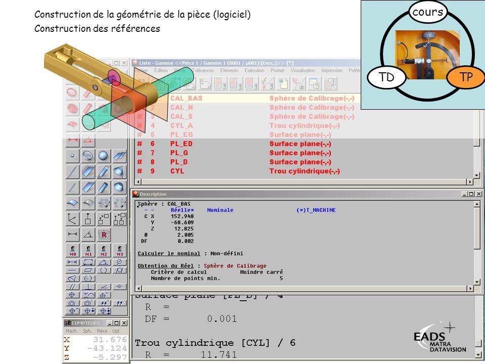 TD TP cours Construction des références Construction de la géométrie de la pièce (logiciel)