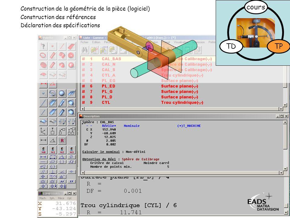 TD TP cours Déclaration des spécifications Construction des références Construction de la géométrie de la pièce (logiciel)