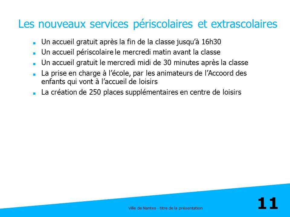 Ville de Nantes - titre de la présentation 11 Les nouveaux services périscolaires et extrascolaires  Un accueil gratuit après la fin de la classe jus