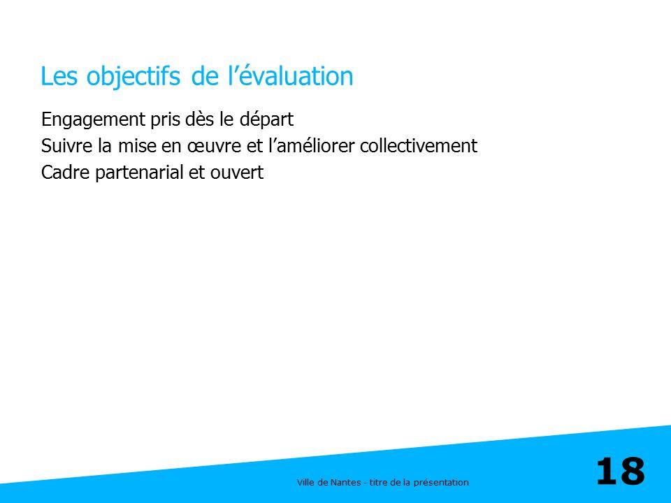 Ville de Nantes - titre de la présentation 18 Les objectifs de l'évaluation Engagement pris dès le départ Suivre la mise en œuvre et l'améliorer colle