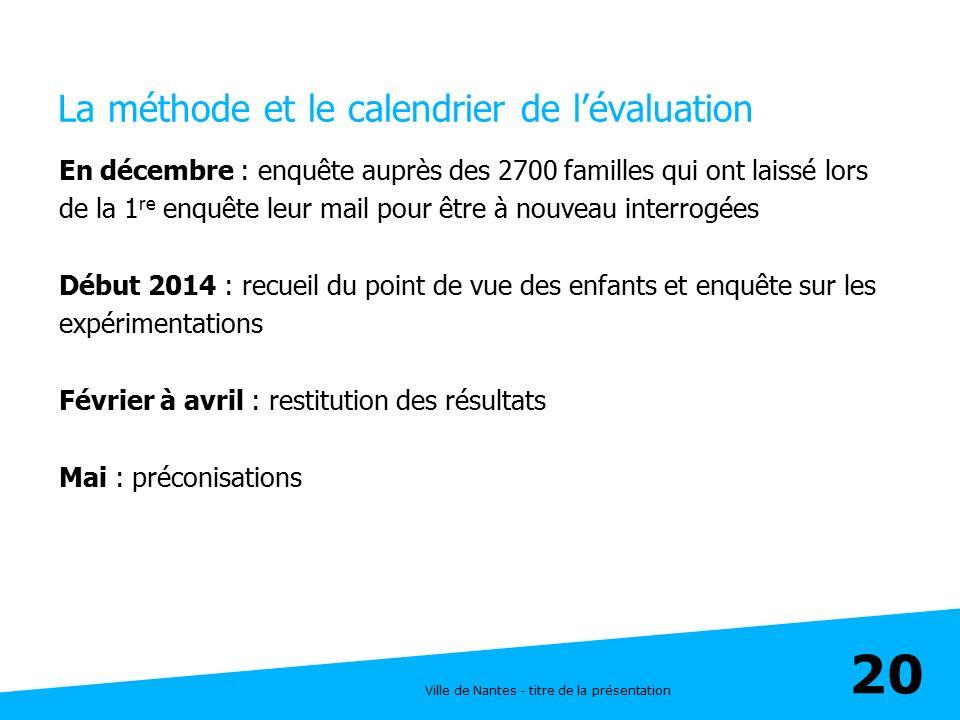 Ville de Nantes - titre de la présentation 20 La méthode et le calendrier de l'évaluation En décembre : enquête auprès des 2700 familles qui ont laiss