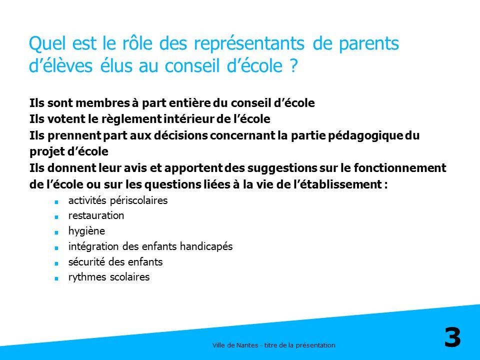 Ville de Nantes - titre de la présentation 14 Fréquentation des accueils périscolaires en septembre  Deux tiers des enfants passent moins de temps à l'école les lundis, mardis, jeudis, vendredis par rapport à l'année passé  Un tiers des enfants passe plus de temps à l'école que l'année passée