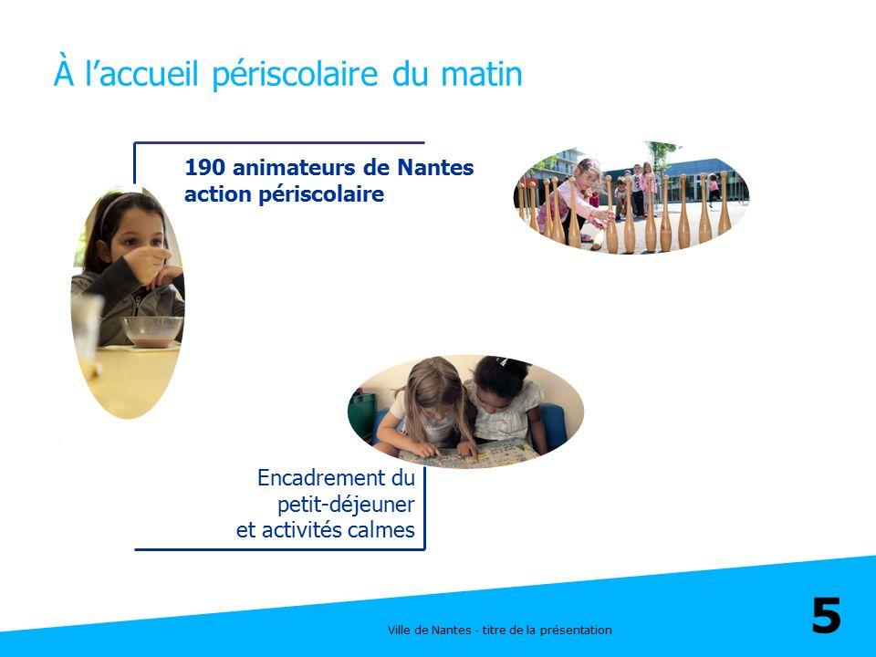 Ville de Nantes - titre de la présentation 5 À l'accueil périscolaire du matin Encadrement du petit-déjeuner et activités calmes 190 animateurs de Nan