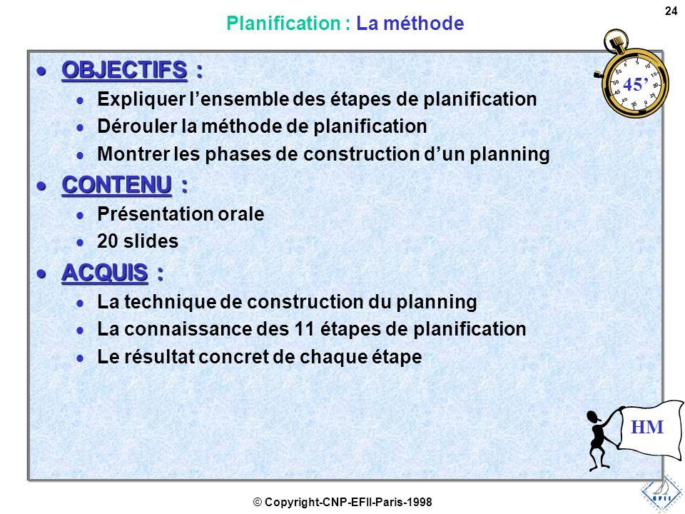 © Copyright-CNP-EFII-Paris-1998 24  OBJECTIFS :  Expliquer l'ensemble des étapes de planification  Dérouler la méthode de planification  Montrer les phases de construction d'un planning  CONTENU :  Présentation orale  20 slides  ACQUIS :  La technique de construction du planning  La connaissance des 11 étapes de planification  Le résultat concret de chaque étape Planification : La méthode 45' HM