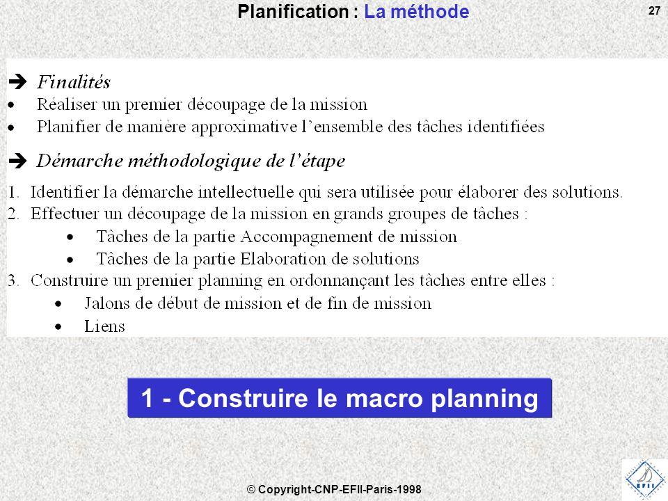 © Copyright-CNP-EFII-Paris-1998 27 Planification : La méthode 1 - Construire le macro planning