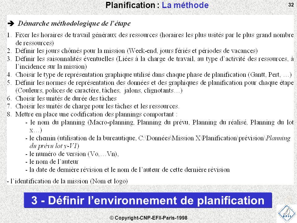 © Copyright-CNP-EFII-Paris-1998 32 Planification : La méthode 3 - Définir l'environnement de planification