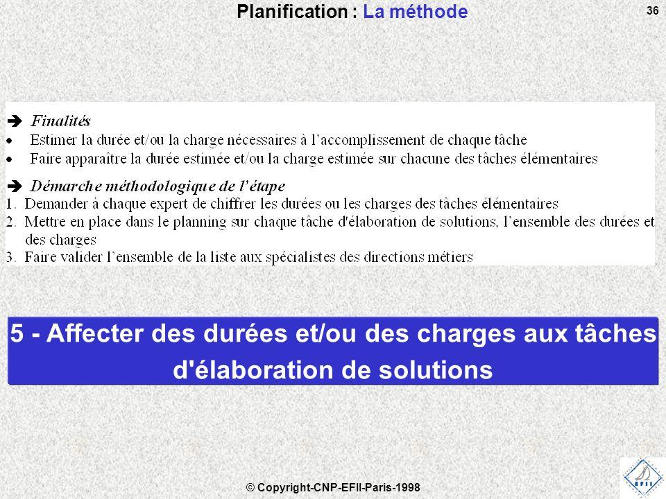 © Copyright-CNP-EFII-Paris-1998 36 Planification : La méthode 5 - Affecter des durées et/ou des charges aux tâches d élaboration de solutions