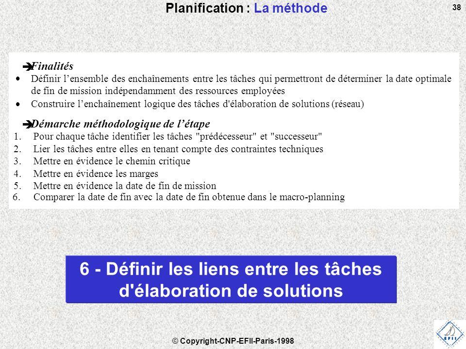 © Copyright-CNP-EFII-Paris-1998 38 Planification : La méthode 6 - Définir les liens entre les tâches d élaboration de solutions è Finalités  Définir l'ensemble des enchaînements entre les tâches qui permettront de déterminer la date optimale de fin de mission indépendamment des ressources employées  Construire l'enchaînement logique des tâches d élaboration de solutions (réseau) è Démarche méthodologique de l'étape 1.