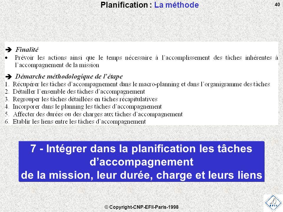 © Copyright-CNP-EFII-Paris-1998 40 Planification : La méthode 7 - Intégrer dans la planification les tâches d'accompagnement de la mission, leur durée, charge et leurs liens