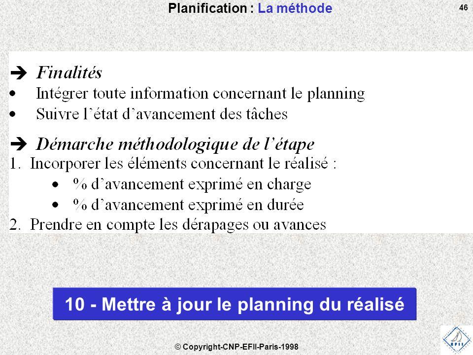© Copyright-CNP-EFII-Paris-1998 46 Planification : La méthode 10 - Mettre à jour le planning du réalisé