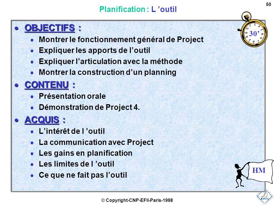 © Copyright-CNP-EFII-Paris-1998 50  OBJECTIFS :  Montrer le fonctionnement général de Project  Expliquer les apports de l'outil  Expliquer l'articulation avec la méthode  Montrer la construction d'un planning  CONTENU :  Présentation orale  Démonstration de Project 4.