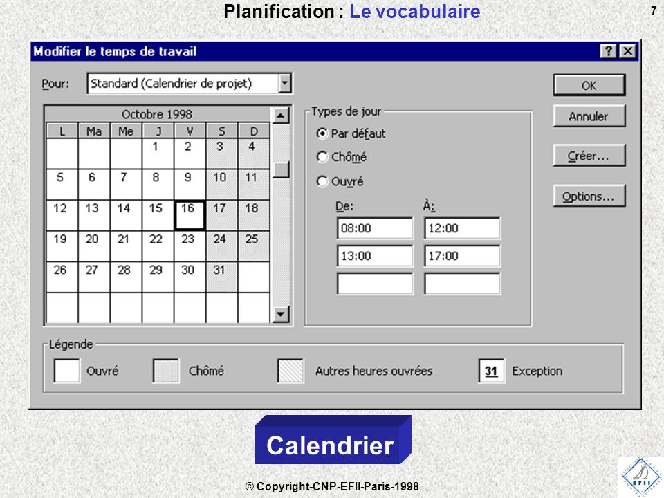 © Copyright-CNP-EFII-Paris-1998 7 Planification : Le vocabulaire Calendrier