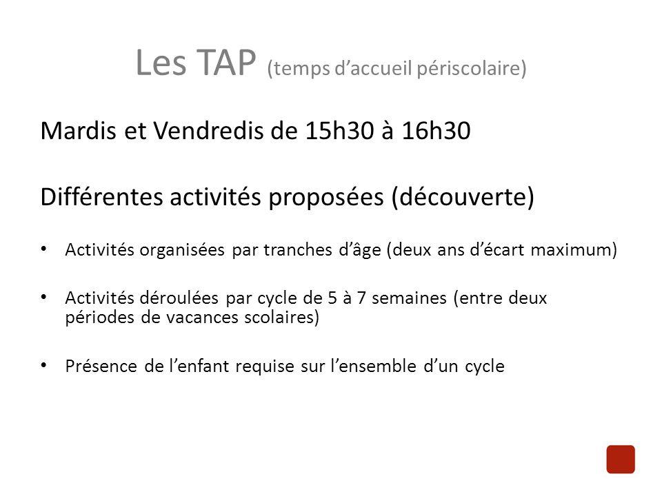 Les TAP (temps d'accueil périscolaire) Mardis et Vendredis de 15h30 à 16h30 Différentes activités proposées (découverte) Activités organisées par tran