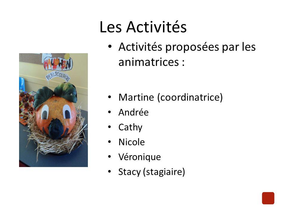 Les Activités Activités proposées par les animatrices : Martine (coordinatrice) Andrée Cathy Nicole Véronique Stacy (stagiaire)